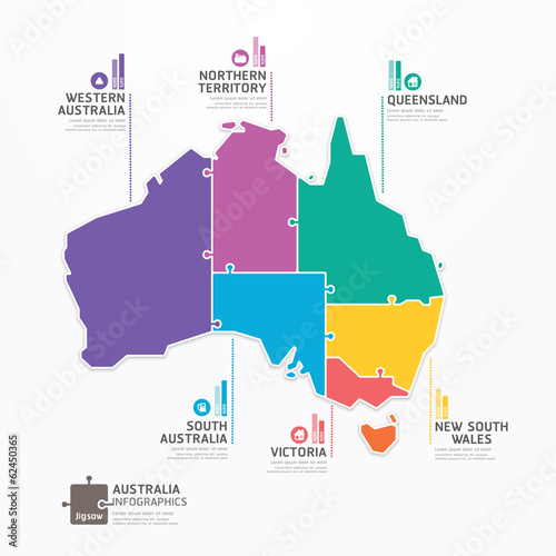 Australia Map Infographic Template jigsaw concept banner. vector Poster