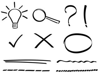 Set of hand drawn simple icons.