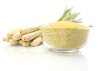 Lemongrass balt salts in a bowl,Isolated on white background