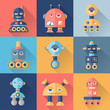 Set of robots in flat style.