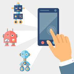 Concept control robots using gadget.