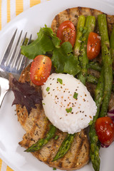 Poached egg on toasted bread with asparagus, tomatoes and greens