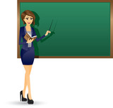 Teacher holding book and focus at blackboard