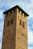 medieval tower built with bricks for the defense of the town by