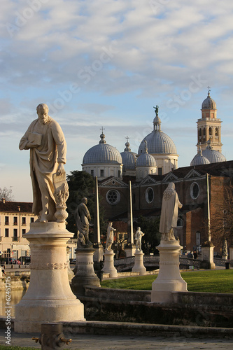 Statue and the famous Canal Park of Prato della Valle Padova