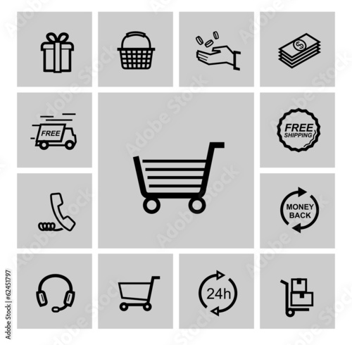 vector black shopping icons