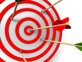 3d target and arrows, isolated on white