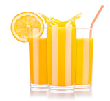 Fresh orange juice in glass with splash