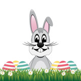 happy gray bunny colorful eggs daisy meadow isolated