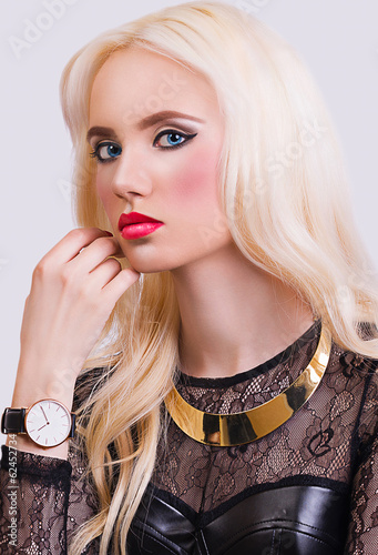 Beautiful blonde girl with perfect make up