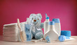 toiletries baby with diapers and pacifiers - 62453179