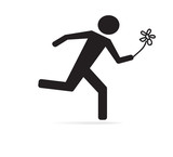 Vector Running Man with flower