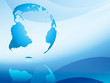 blue abstract background with continents - vector