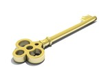 3D render of a golden key