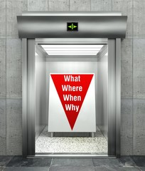 Business questions. Modern elevator with red down arrow