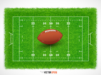 Rugby field with realistic grass textured, Vector