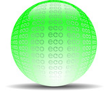 Eco - abstract ecological green glossy word sphere on white
