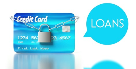 Loans concept. credit card with padlock and chain