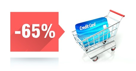 Minus 65 percent sale, credit card and shopping cart