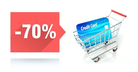 Minus 70 percent sale, credit card and shopping cart