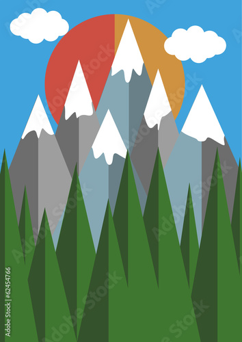 mountains and forest illustration