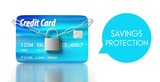 Savings protection. credit card with padlock and chain