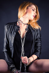 beautiful sexy woman with chain on her neck