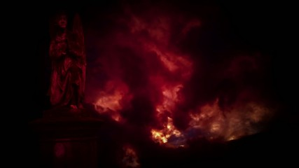 Statues of angels in the red storm.