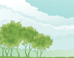 Spring forest	. Vector Trees on cloudy sky  at old style