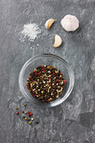 Spices on a stone background