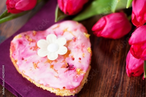 Pink Heart-shaped Lemon Cake