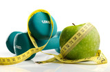 healthy apple, measuring tape and dumbbells isolated - 62456154