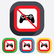 Do not play. Joystick sign icon. Video game.