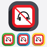 No Headphones sign icon. Earphones button.