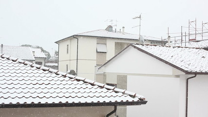 Snowing over Roof in the City
