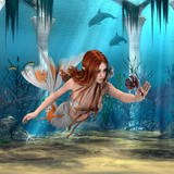 Mermaid holding Sea Lily