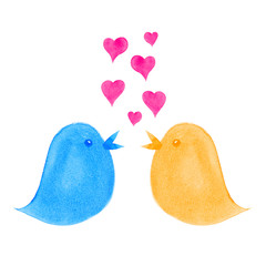 Birds Singing Love Hearts Dating Concept