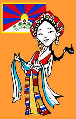 funny Tibetan girl/illustration with tibetan flag