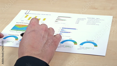 Man hand with business report on paper