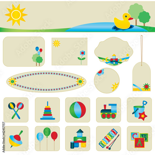 Children toy icons and banner set