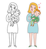 Mommy and her son cute illustration