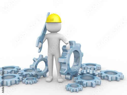 3d man worker holding a big wrench