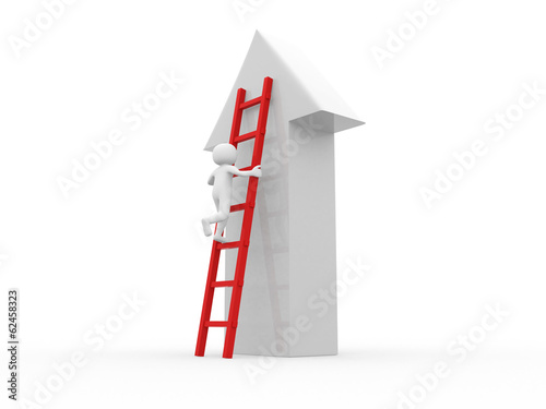 3d people - man climbing stairs with arrow