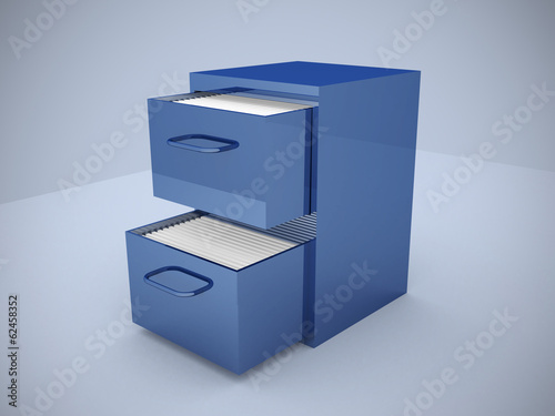 File cabinet with an open drawer with folders