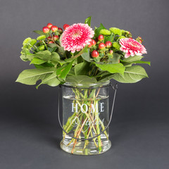 Bouquet of flowers in glass vase