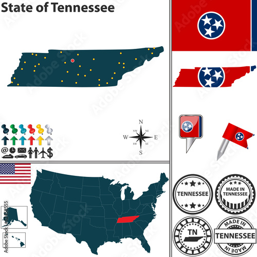 Map of state Tennessee, USA