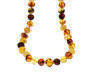 Amber necklace with backlighting isolated on white