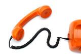 Orange telephone hotline on white