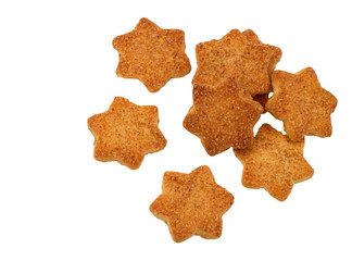 Star shaped biscuits isolated on white