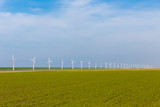 Wind turbines in wide Dutch farmland